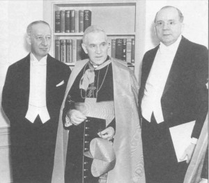 Knight of Columbus Al Smith; New York City Archbishop Patrick Cardinal Hayes; Knight of Malta Nicholas Brady, 1928