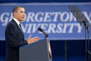 """President"" Barry Davis ""Teleprompter"" Obama at Jesuit Georgetown University, 2010"