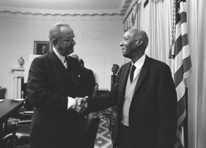 White Freemason Lyndon B. Johnson and Black Freemason A. Philip Randolph impose Black Pope's Civil Rights Acts of 1964-65 Amalgamating the American Empire via Federal Bayonets