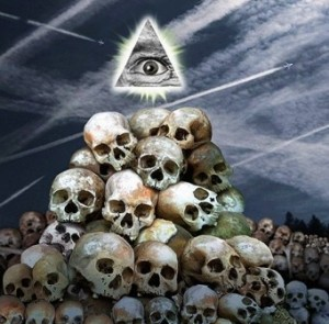 All Seeing Eye Above Skulls