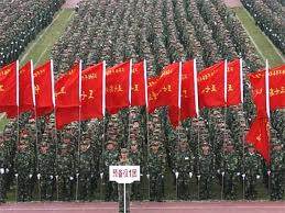 Chinese Military Parade with Flags, 2010