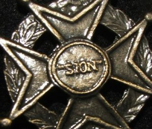 Cross of the Knights of St. John of Jerusalem/Malta with Sion/Jerusalem in Center