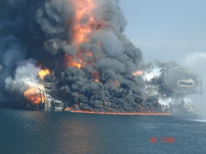 Deepwater Horizon Oil Rig, Burning as it Sinks, April 22, 2010