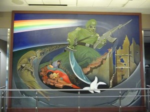 Denver Airport: Green Soldier with Islamic Simitar and Communist AK47 Killing the White Dove (Holy Spirit) of Reformation Bible-based Christianity
