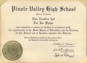 "High School Diploma of Eric Jon Phelps, the Natural Individual and Surety for ""ERIC JON PHELPS"""