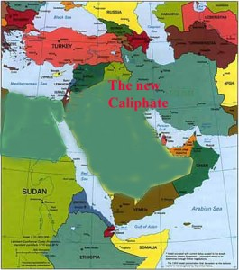 Map of New Sunni Caliphate after Rome's 12th Crusade against Islamic peoples, part of Black Pope's World War III