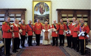 Pope Benedict XVI with SMOM Grand Master Matthew Festing (on Pope's right hand) and Knights