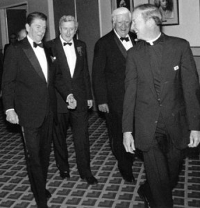 "President Ronald Reagan with Roman Catholic House Speaker, Knight of Columbus Thomas ""Tip"" O'Neill and Boston College President, Jesuit Priest J. Donald Monan"