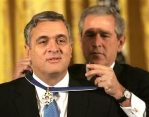 Knight of Malta George J. Tenet & Bonesman George W. Bush, Presidential Medal of Freedom, 2004