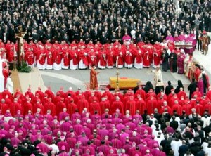 Funeral, Pope John Paul II; Cardinals (Red), Archbishops and Bishops (Purple), Rome, 2005