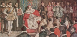 "King James I with Translators of the Authorized King James Bible of 1611: ""The Monarch of the Books"""