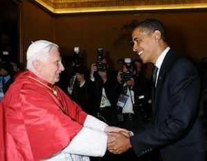White Pope Benedict with his Mulatto Slave, Commander-in-Chief, Barry Davis Obama, 2009